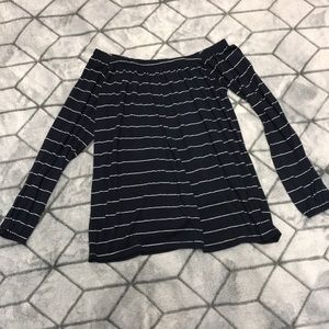 Blue with white stripes off the shoulder top